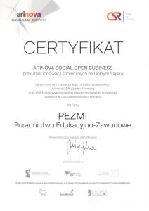 certyfikatArinovaSocialOpenBusiness
