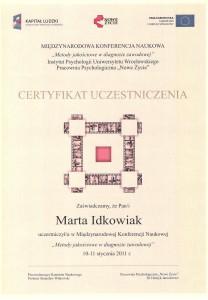 certyfikatKonferencjaMetodyJakoscioweWDiagnozieZawodowej