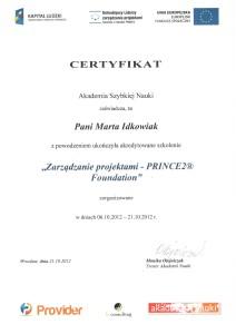 certyfikatSkolenieZarzadzanieProjektamiPrince2