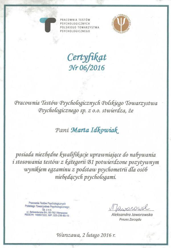 certyfikat_Pracownia_Testow_Psychologicznych